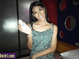 Perverted tranny hot posed for a nasty white tourist shemale