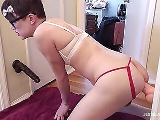 Sissy ass to mouth spitroast with two giant dildos shemale